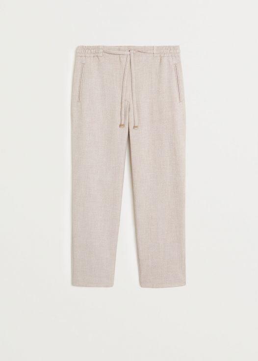 Quần Nữ Mango Drawstring Waist Straight Pants Sand