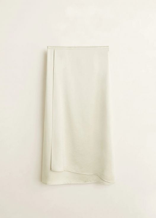 Váy Nữ Mango Midi Satin Skirt Ice Grey