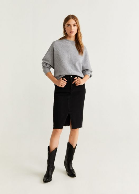 Áo Nỉ Nữ Mango Textured Knit Sweater Medium Heather Grey