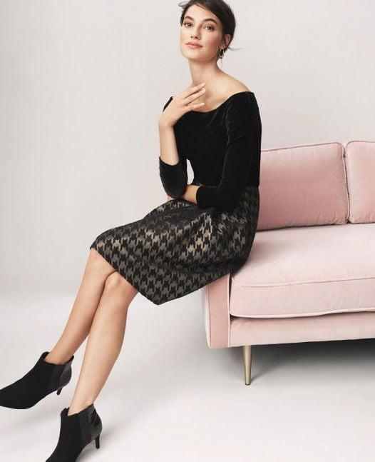 Váy Nữ Ann Taylor Petite Shimmer Houndstooth Full Skirt Black