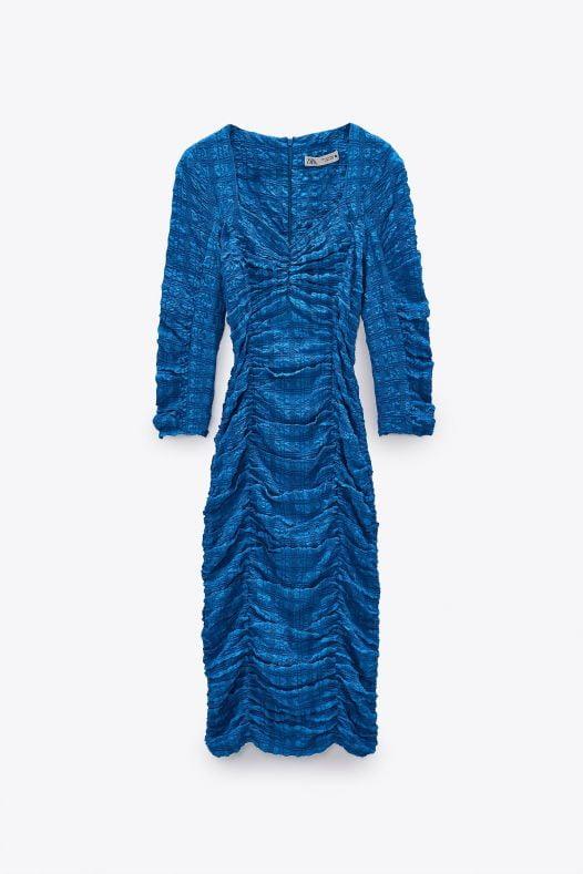 Đầm Nữ Zara Textured Dress Blue