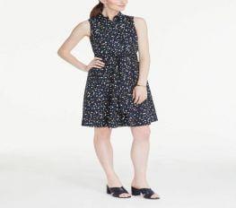 Đầm Nữ Ann Taylor Polka Dot Sleeveless Shirtdress Industrial Navy