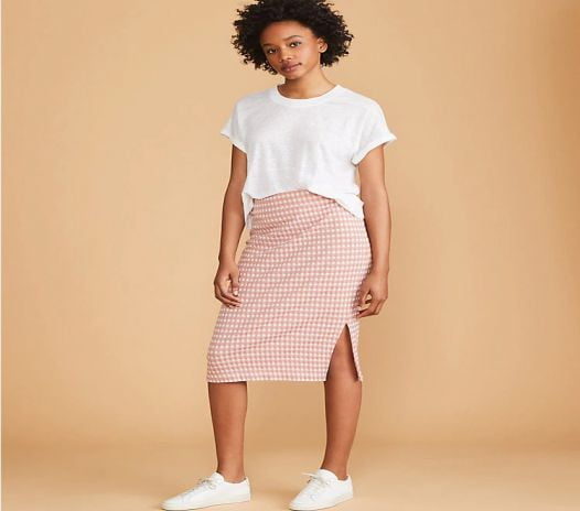 Váy Nữ Loft Lou & Grey Gingham Midi Skirt - Rosy Peach