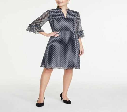 Đầm Nữ Ann Taylor Petite Ruffle 34 Sleeve Flare Dress Industrial Navy