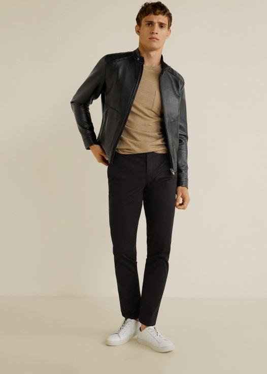 Áo Khoác Nam Mango Faux Leather Biker Jacket Black