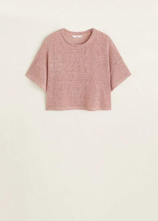 Áo Nỉ Nữ Mango Open Knit Top Pink