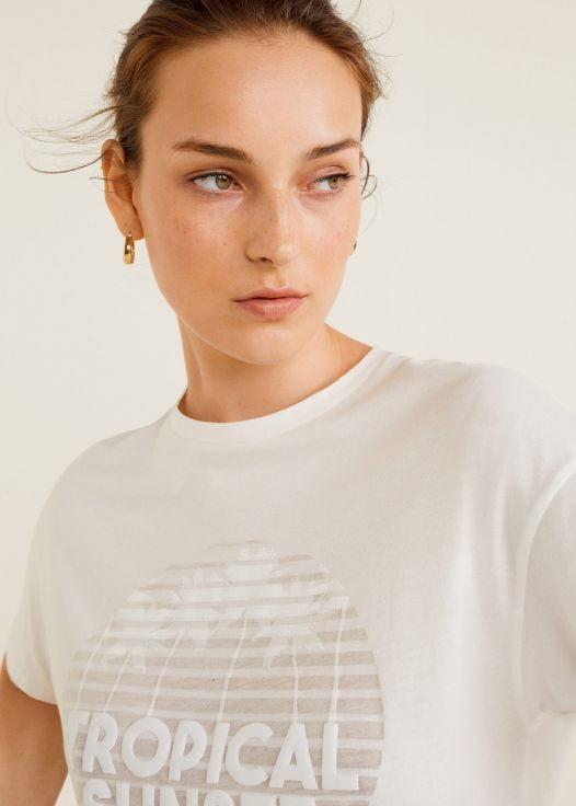 Áo Thun Nữ Mango Printed Embossed Letters T Shirt White
