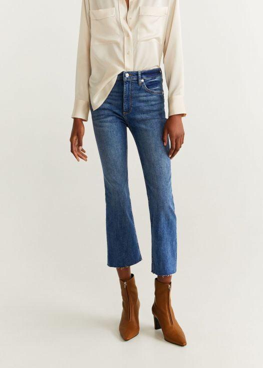 Quần Jeans Nữ Mango Crop Flared Jeans Dark Blue