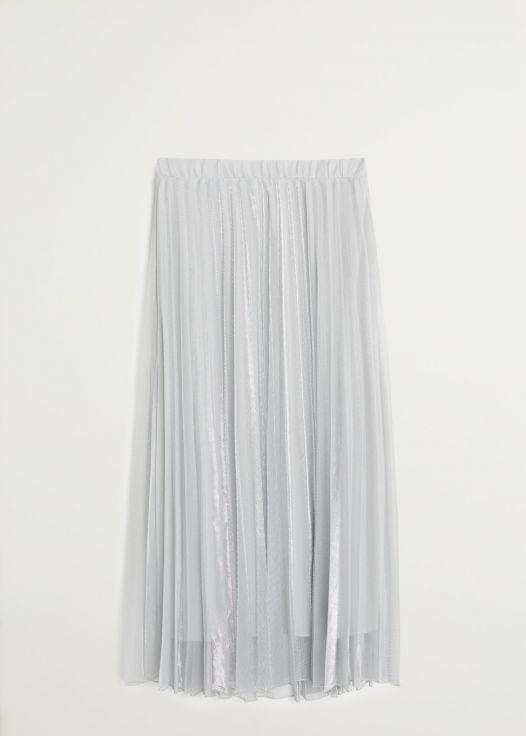 Váy Nữ Mango Pleated Midi Skirt Silver