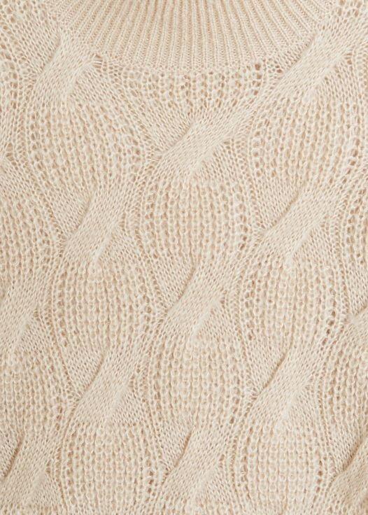 Áo Nỉ Nữ Mango Cable Knit Sweater Medium Brown
