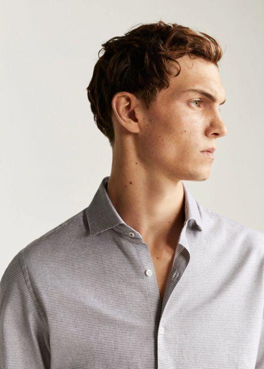 Áo Sơ Mi Nam Mango Slim Fit Micro Houndstooth Shirt Brown