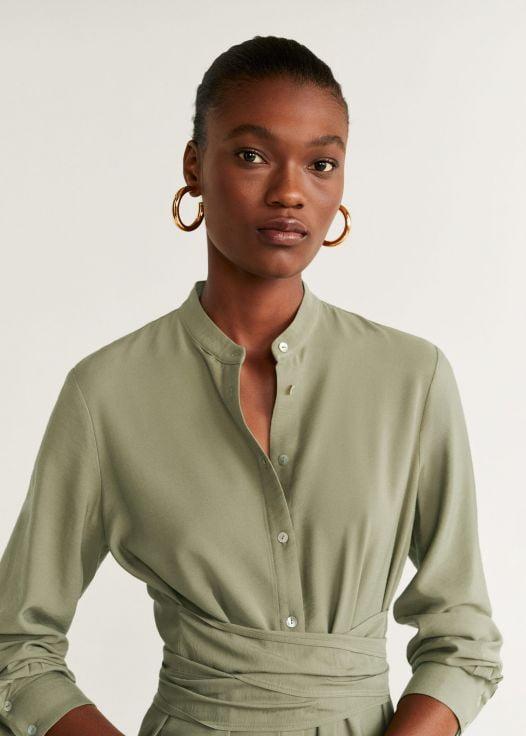 Đầm Nữ Mango Buttoned Bow Dress Khaki