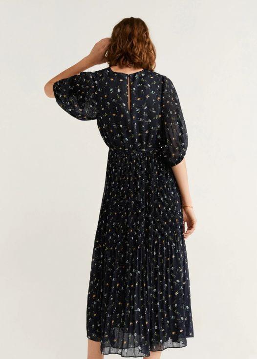 Đầm Nữ Mango Pleated Chiffon Dress Dark Navy