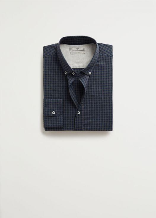 Áo Sơ Mi Nam Mango Slim Fit Gingham Check Shirt Dark Navy
