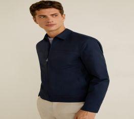 Áo Khoác Nam Mango Zipper Cotton Jacket Dark Navy