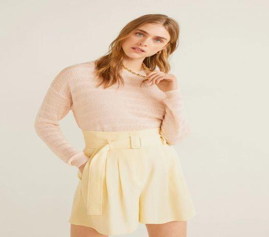Áo Nỉ Nữ Mango Open Knit Sweater Pink