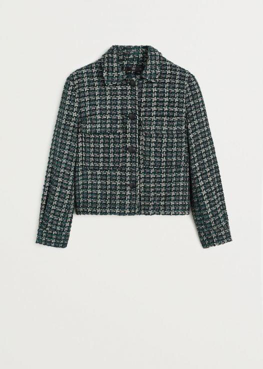 Áo Khoác Nữ Mango Pocket Tweed Jacket Dark Green