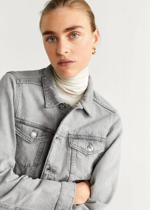 Áo Khoác Nữ Mango Frayed Hem Denim Jacket Denim Grey
