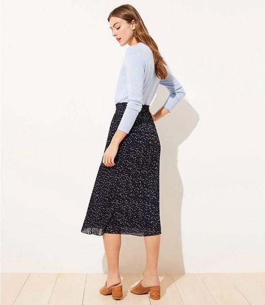 Váy Nữ Loft Dotted Pleated Midi Skirt - Forever Navy