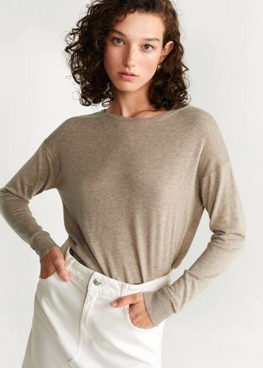 Áo Nỉ Nữ Mango Knit Cotton Sweater Light - Pastel Grey