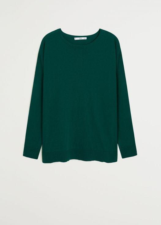 Áo Nỉ Nữ Mango Knit Cotton Sweater Dark Green