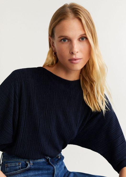 Áo Thun Nữ Mango Ribbed T Shirt Navy