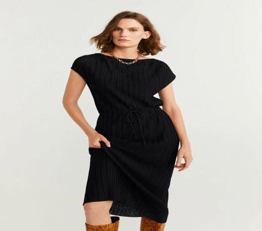 Đầm Nữ Mango Pleated Cord Dress Black