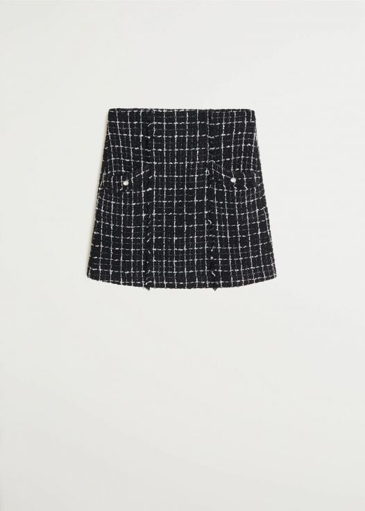 Váy Nữ Mango Check Tweed Miniskirt Black