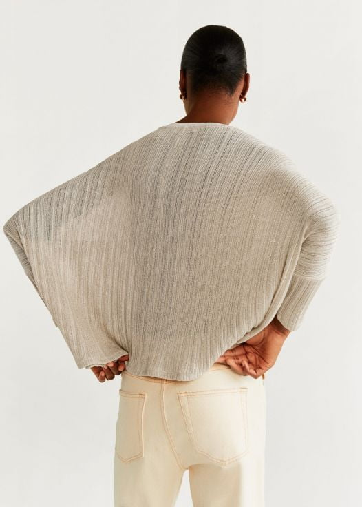 Áo Thun Nữ Mango Metallic Thread T-Shirt Beige