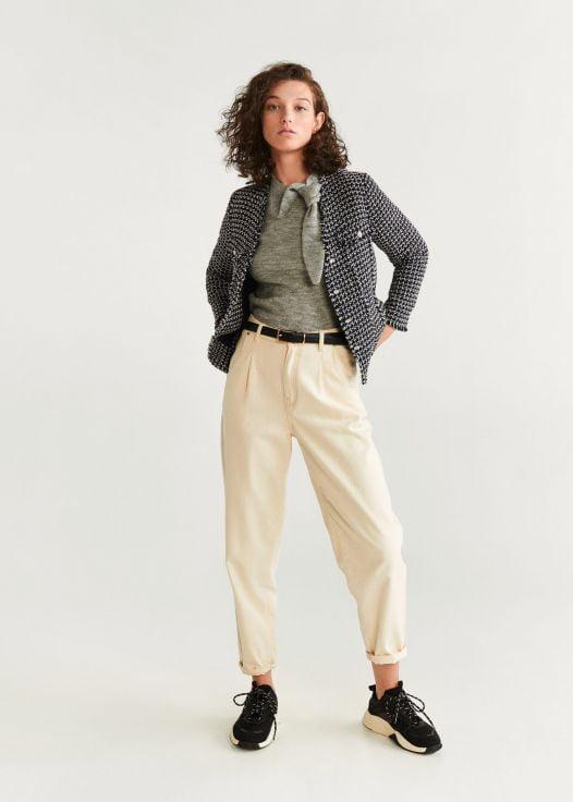 Áo Khoác Nữ Mango Tweed Jacket Black