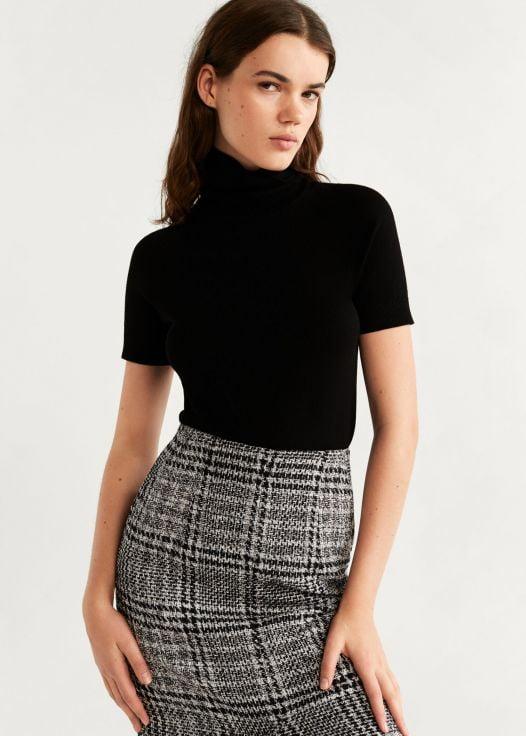Váy Nữ Mango Tweed Midi Skirt Black