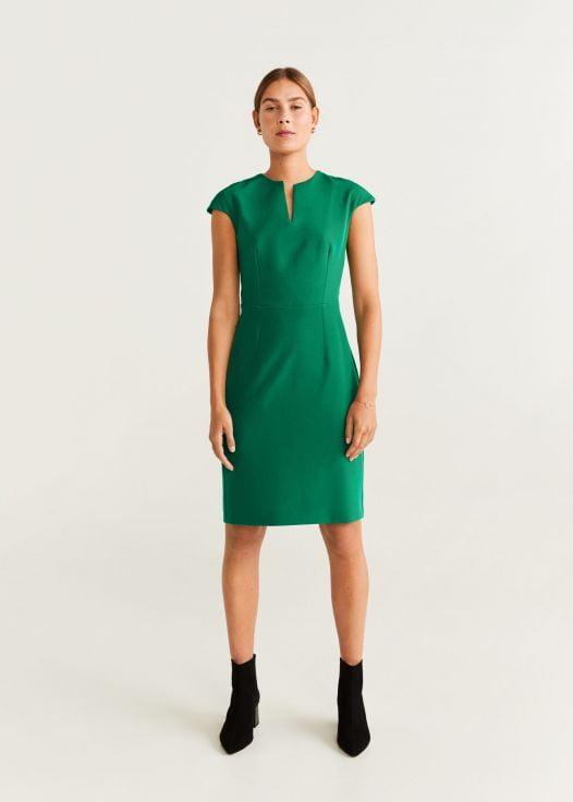 Đầm Nữ Mango Textured Shift Dress Green