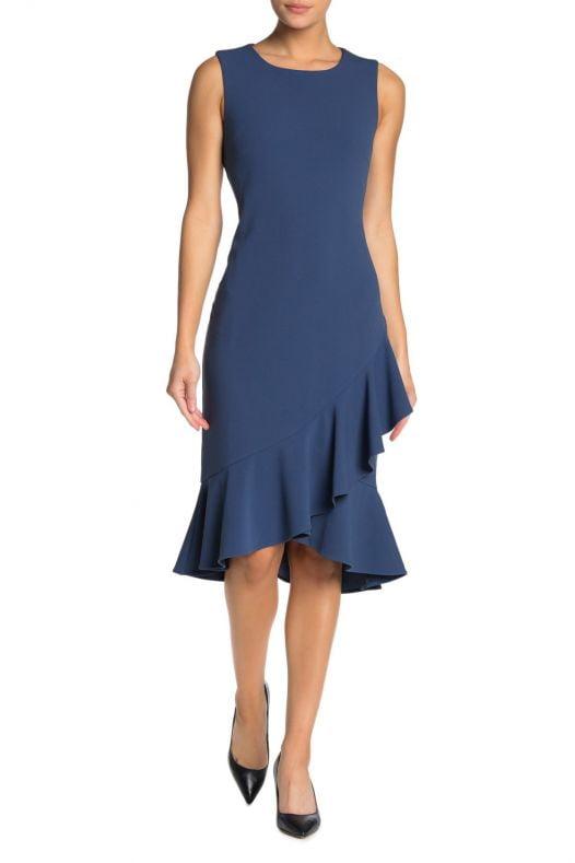 Đầm Nữ Nina Leonard Ruffle Hem Sleeveless Midi Dress Blue Moon