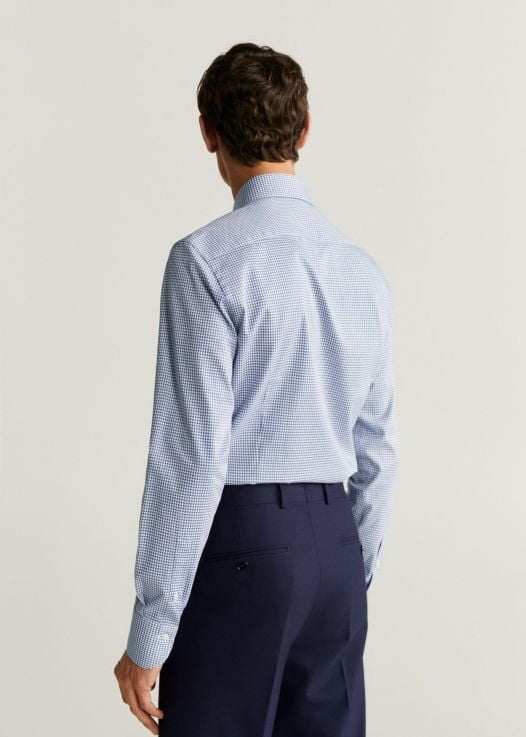 Áo Sơ Mi Nam Mango Slim Fit Houndstooth Tailored Shirt Blue