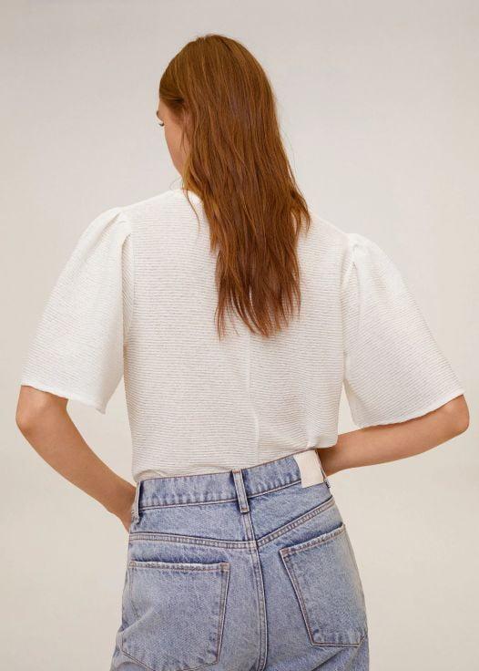 Áo Thun Nữ Mango Pleated Canilla T Shirt Off White
