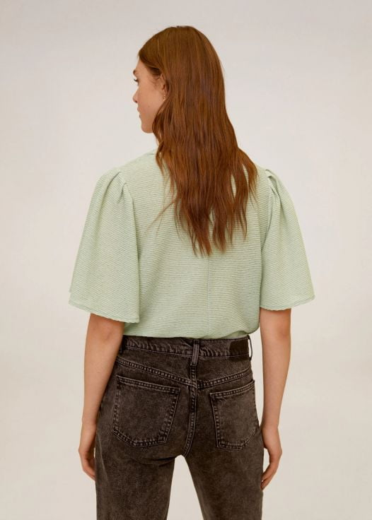 Áo Thun Nữ Mango Pleated Canilla T Shirt Green