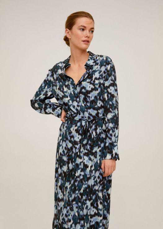 Đầm Nữ Mango Alexis Abstract Print Shirt Dress Blue