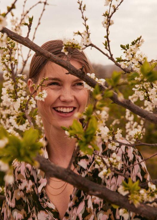 Áo Blouse Nữ Mango Print Blouse Khaki