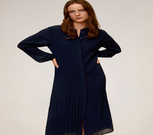 Đầm Nữ Mango Pleated Midi Dress Dark Navy