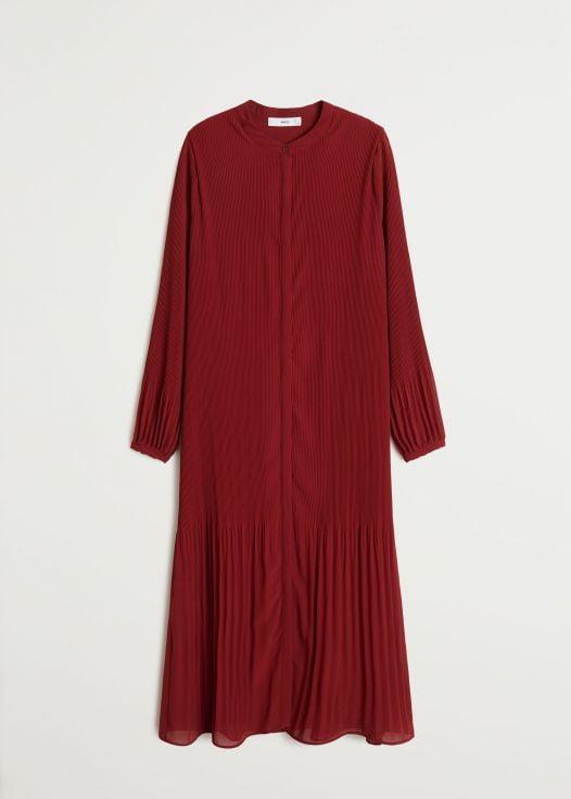 Đầm Nữ Mango Pleated Midi Dress Medium Red