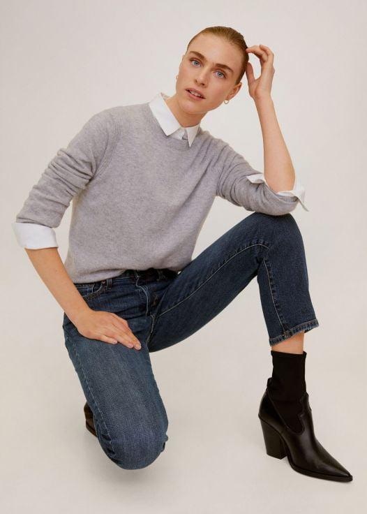 Quần Jeans Nữ Mango Crop Slim Fit Grace Jeans Dark Blue