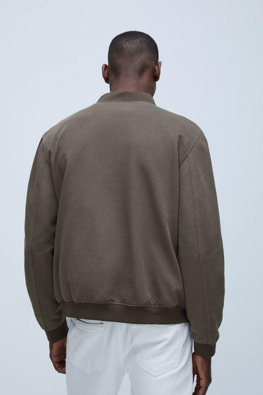 Áo Khoác Nam Zara Textured Bomber Jacket Brown