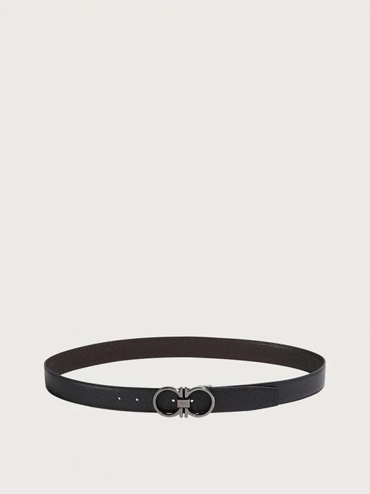 Thắt Lưng Nam Salvatore Ferragamo Adjustable and Reversible Gancini belt Black Testa Di Moro