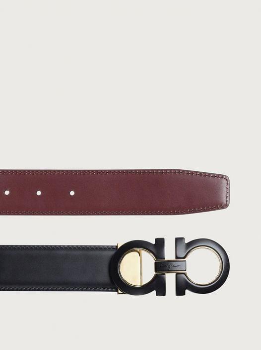 Thắt Lưng Nam Salvatore Ferragamo Reversible And Adjustable Gancini Belt Black Nebbiolo