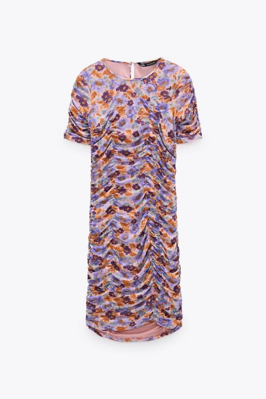 Đầm Nữ Zara Draped Print Dress Trf Purple