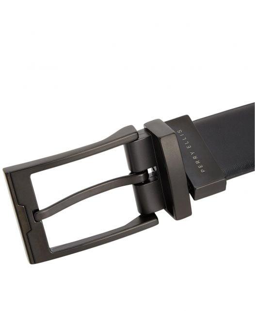 Thắt Lưng Nam Perry Ellis Portfolio Men's Matte Black Reversible Buckle Leather Belt Black