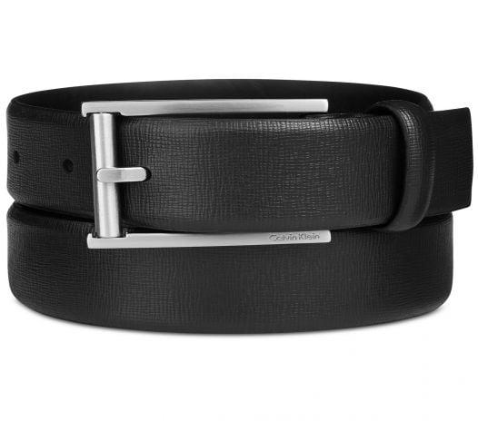 Thắt Lưng Nam Calvin Klein Men's Leather Feather-Edge Belt Black