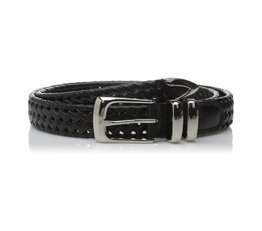 Thắt Lưng Nam Perry Ellis Portfolio Men's Leather Braided Belt Black