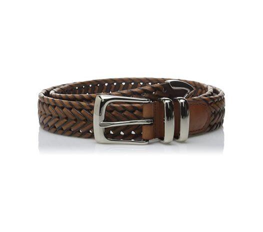 Thắt Lưng Nam Perry Ellis Portfolio Men's Leather Braided Belt Brown