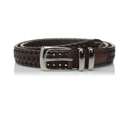 Thắt Lưng Nam Perry Ellis Portfolio Men's Leather Braided Belt Luggage
